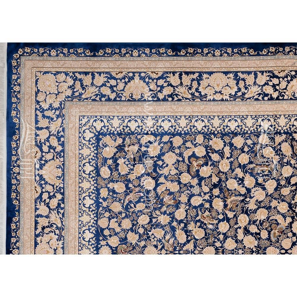 فرش ماشینی ابریشم بافت مشهد اردهال کد ب20 زمینه سرمه ای 03
