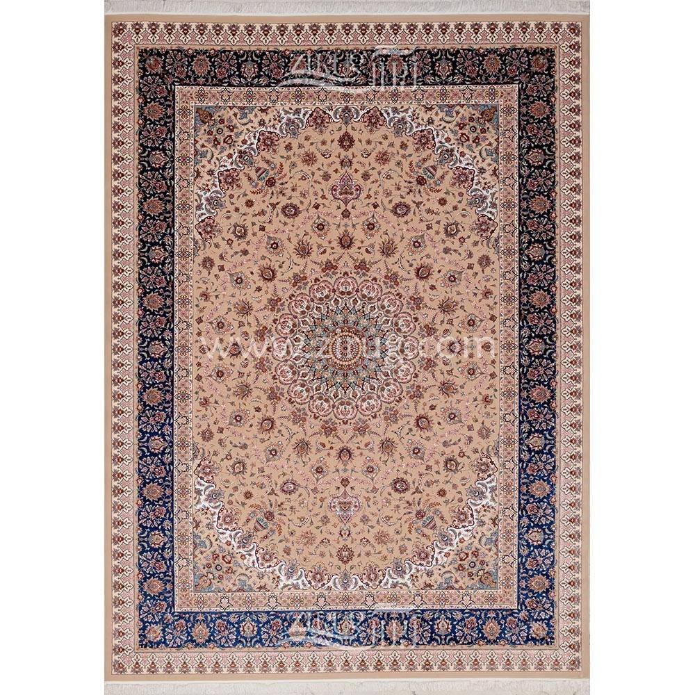 فرش ماشینی ابریشم بافت مشهد اردهال کد ب26 زمینه بژ