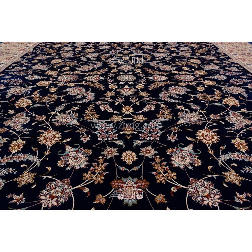فرش ماشینی ابریشم بافت مشهد اردهال کد ب4 زمینه سرمه ای 07