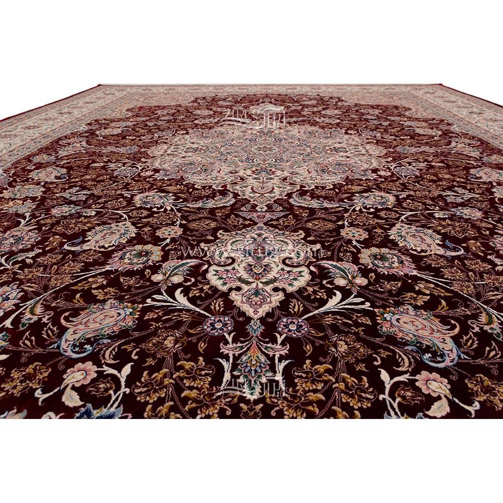 فرش ماشینی ابریشم بافت مشهد اردهال کد ب6 زمینه ارغوانی 07