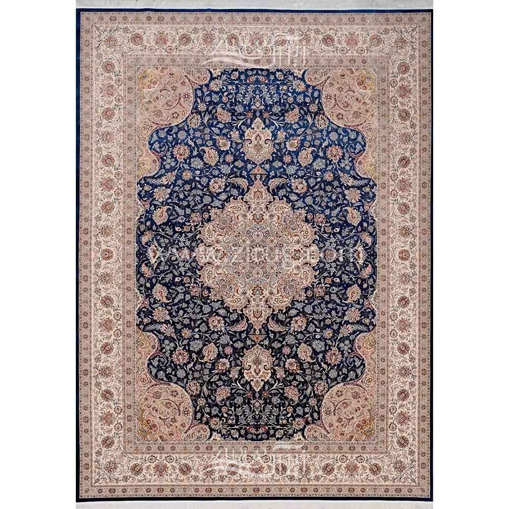 فرش ماشینی ابریشم بافت مشهد اردهال کد ب6 زمینه سرمهای