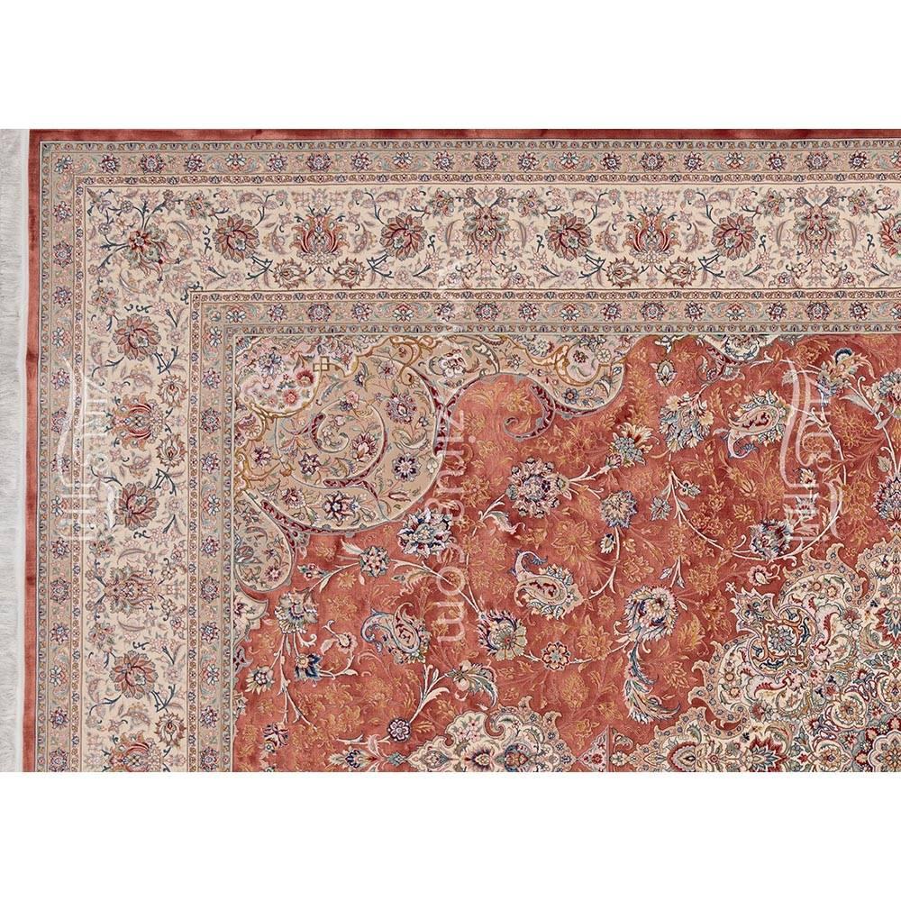 فرش ماشینی ابریشم بافت مشهد اردهال کد ب6 زمینه مسی 03