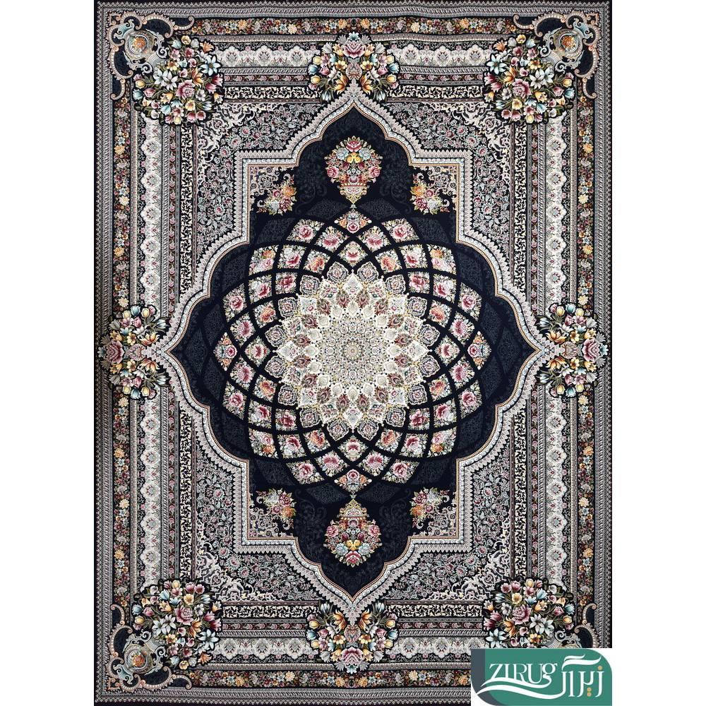 فرش ماشینی 1200 شانه قصر ایرانیان طرح گیتی 5052 زمینه سرمهای