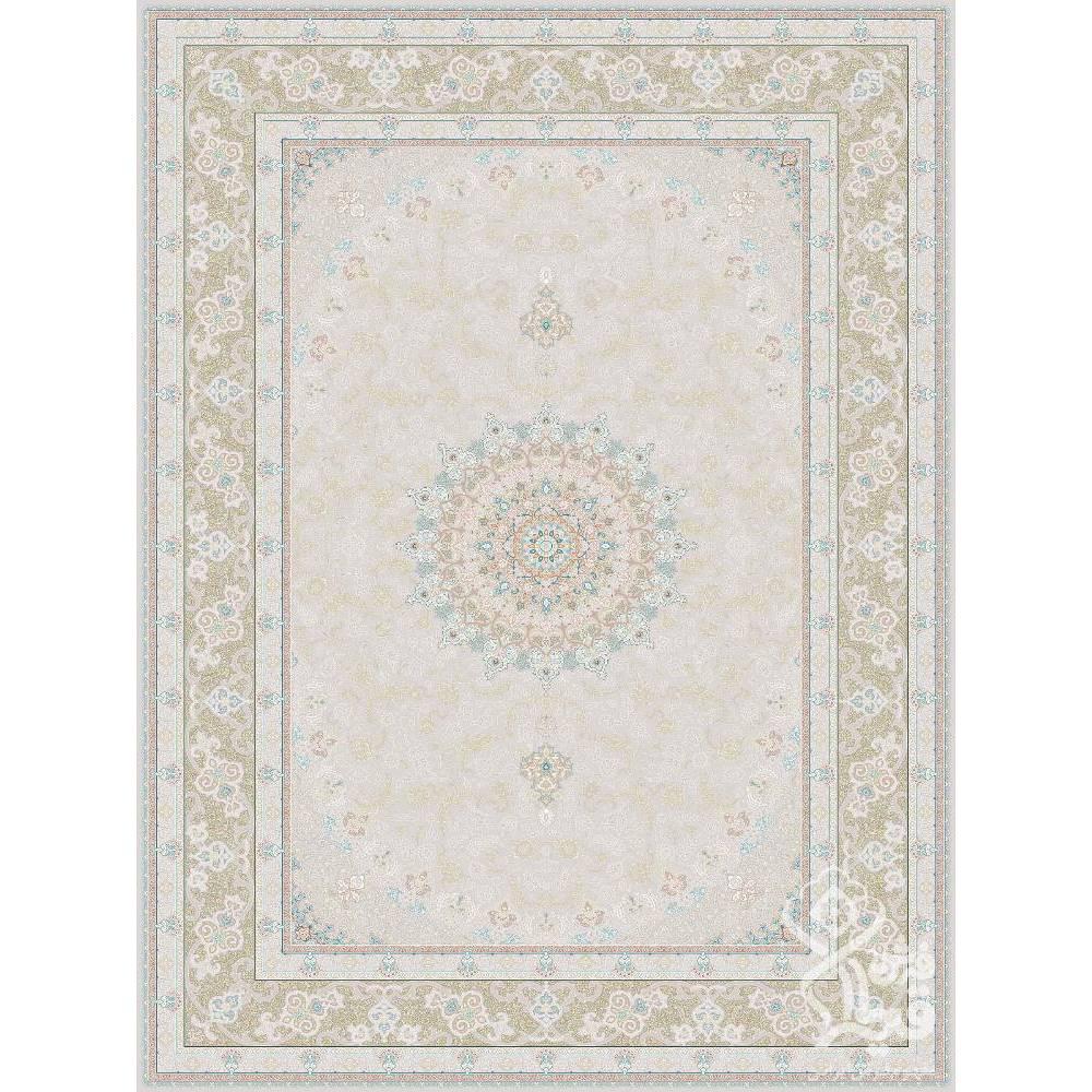فرش ماشینی 1200 شانه قیطران طرح مهرخ زمینه کرم گل برجسته