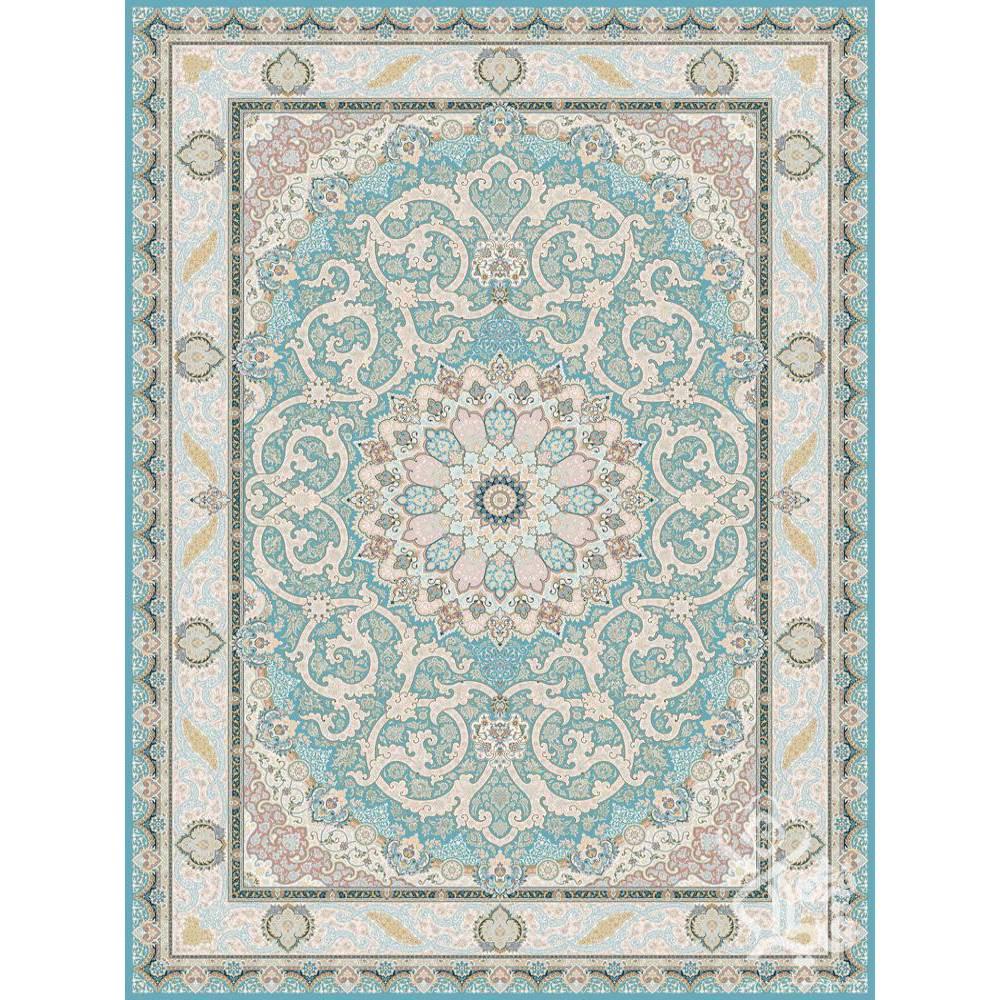 فرش ماشینی 1500 شانه قیطران طرح آزیتا زمینه آبی گل برجسته