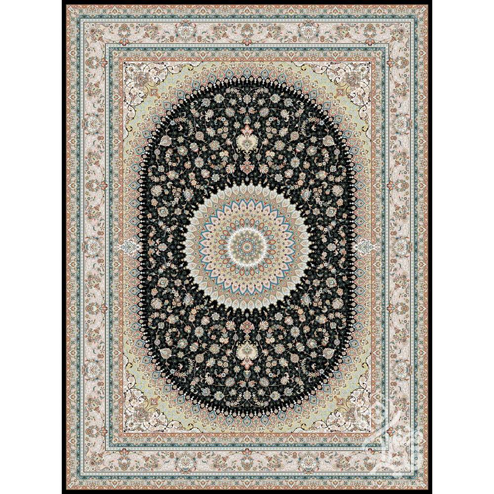 فرش ماشینی 700 شانه قیطران طرح الیا زمینه سرمهای گل برجسته