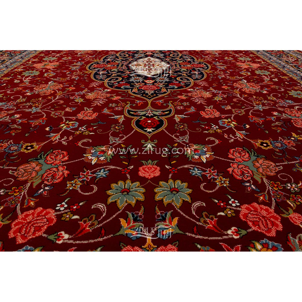 فرش ماشینی ستاره کویر یزد 700 شانه کد 83 زمینه لاکی