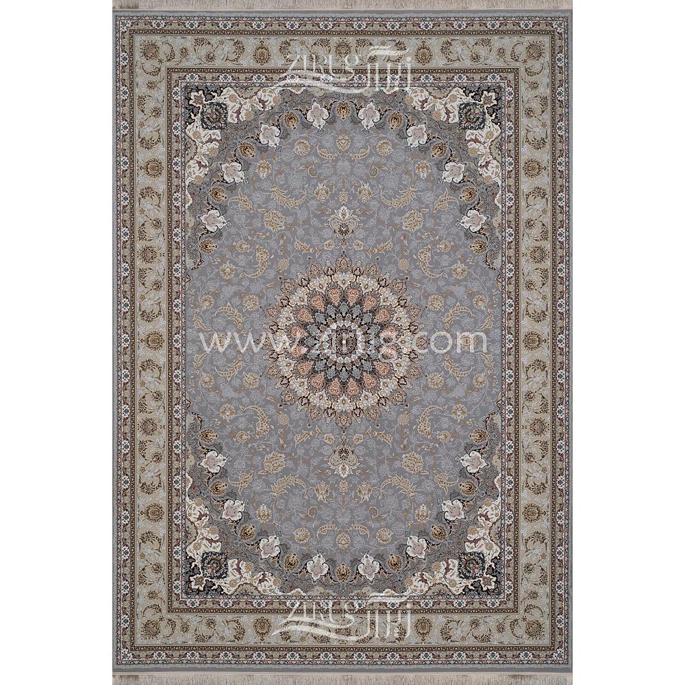 فرش ماشینی 1200 شانه شیخ صفی کد 12116 زمینه نقره ای