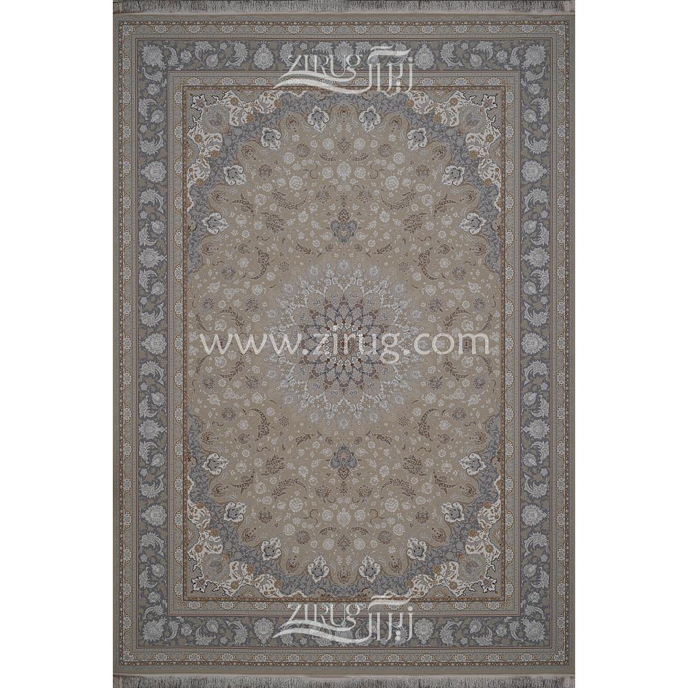 فرش ماشینی 1200 شانه شیخ صفی کد 12116 زمینه کرم لایت