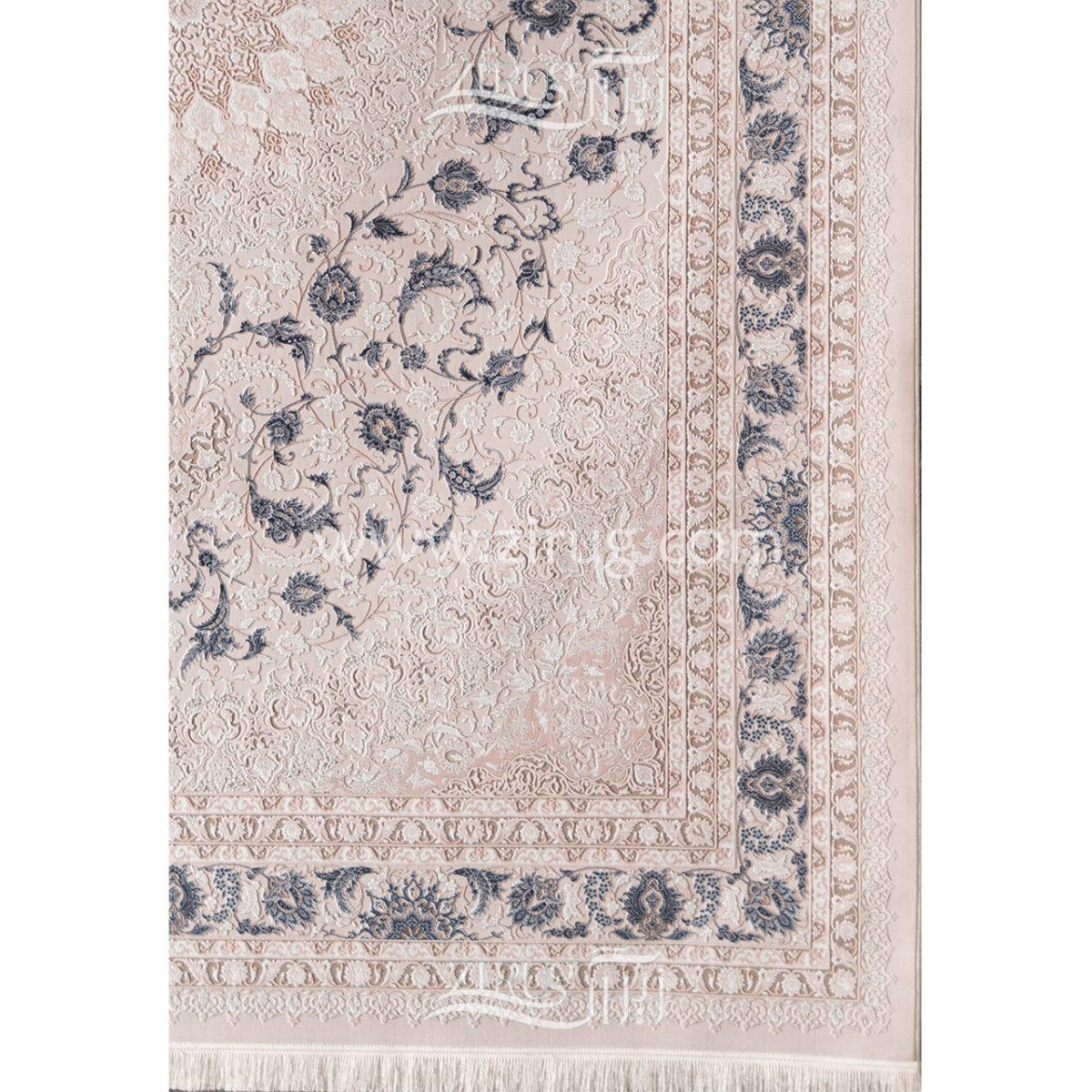 فرش ماشینی 1000 شانه کلکسیون آرامیس کد 1014 زمینه کرم گل برجسته بامبو