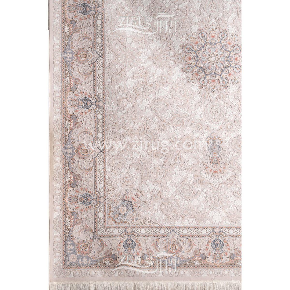 فرش ماشینی 1000 شانه کلکسیون آرامیس کد 3012 زمینه کرم گل برجسته بامبو