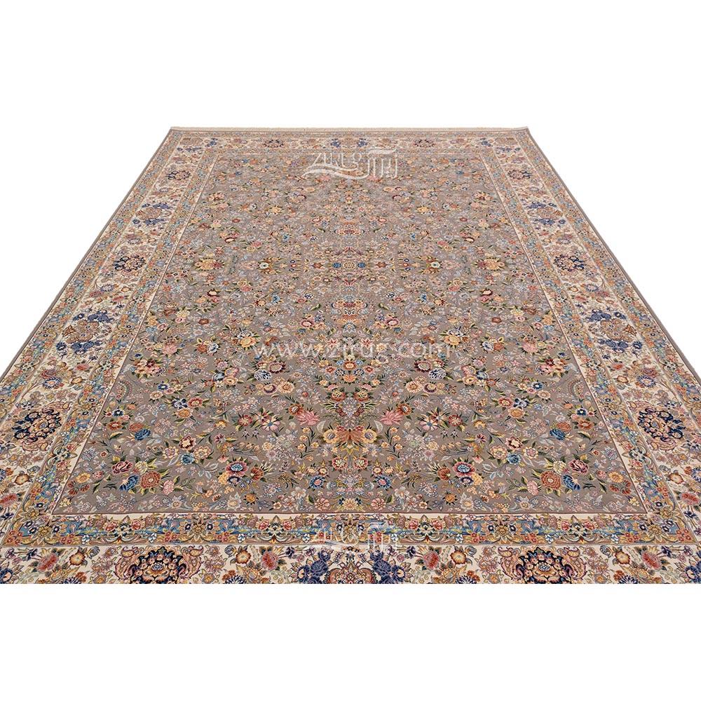 فرش ماشینی 1200 شانه کلکسیون نگین ابریشم کد 1405 زمینه نیلی فیلی