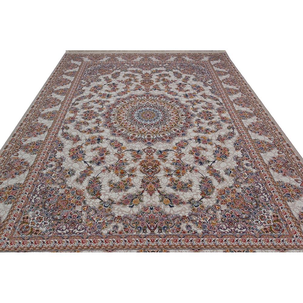 فرش ماشینی 1200 شانه کلکسیون فرشینه کد 12400 زمینه نقره ای گل برجسته