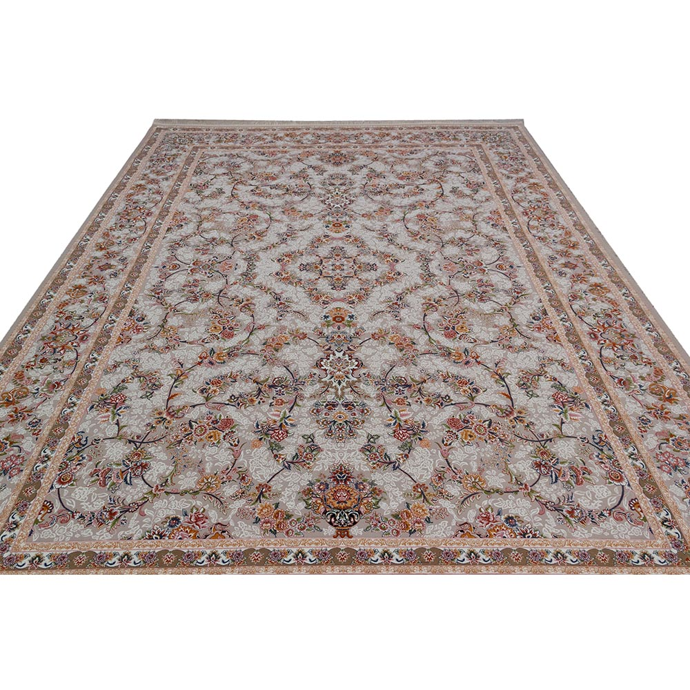 فرش ماشینی 1200 شانه کلکسیون فرشینه کد 12404 زمینه نقره ای گل برجسته