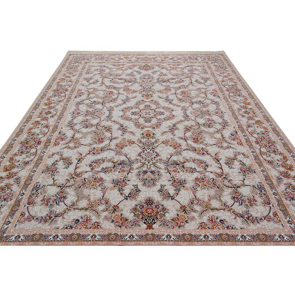 فرش ماشینی 1200 شانه کلکسیون فرشینه کد 12404 زمینه کرم گل برجسته