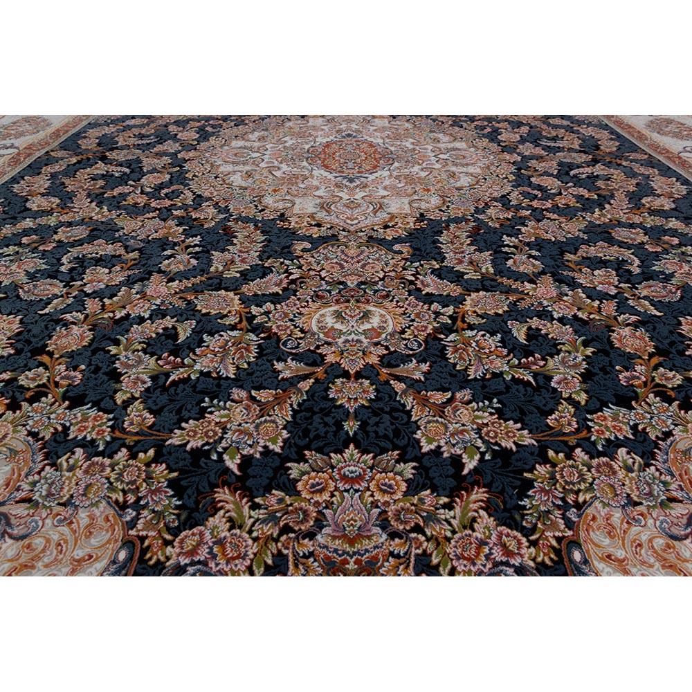 فرش ماشینی 1200 شانه کلکسیون فرشینه کد 12405 زمینه سورمه ای گل برجسته