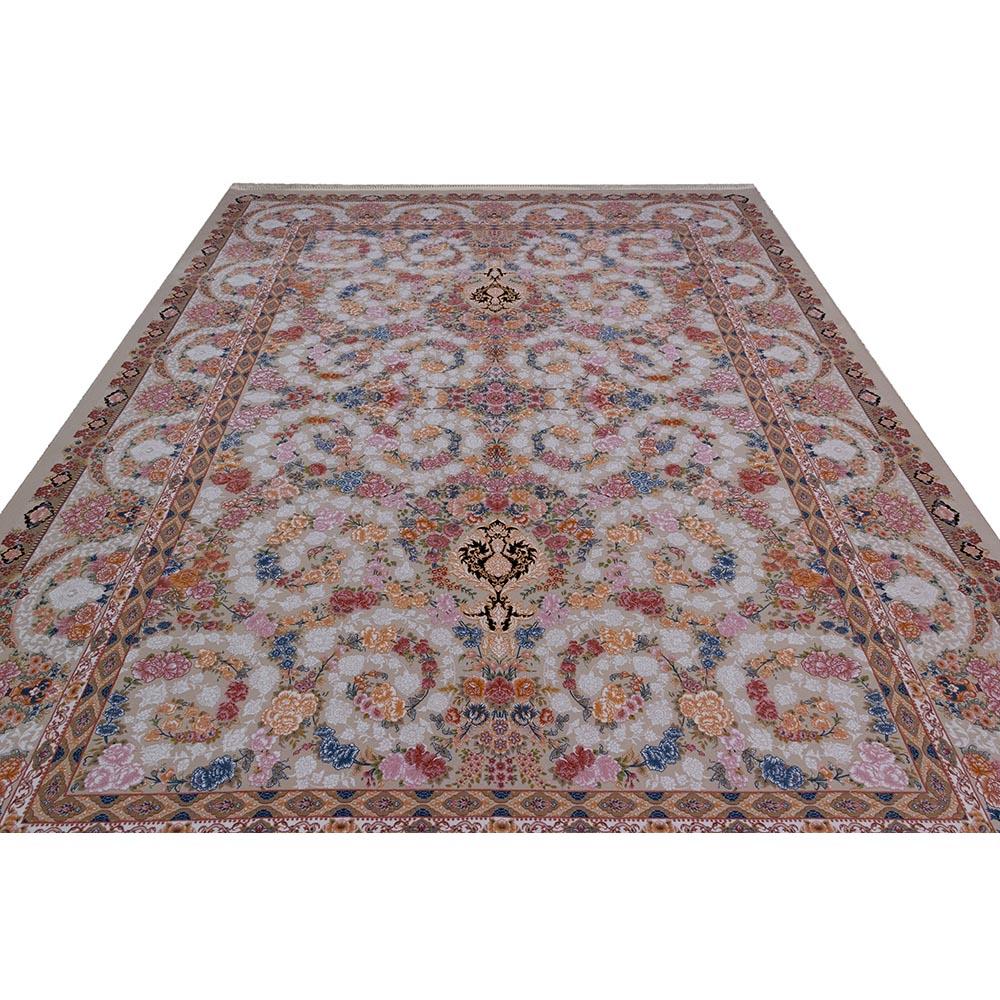 فرش ماشینی 1200 شانه کلکسیون فرشینه کد 12408 زمینه نقره ای گل برجسته
