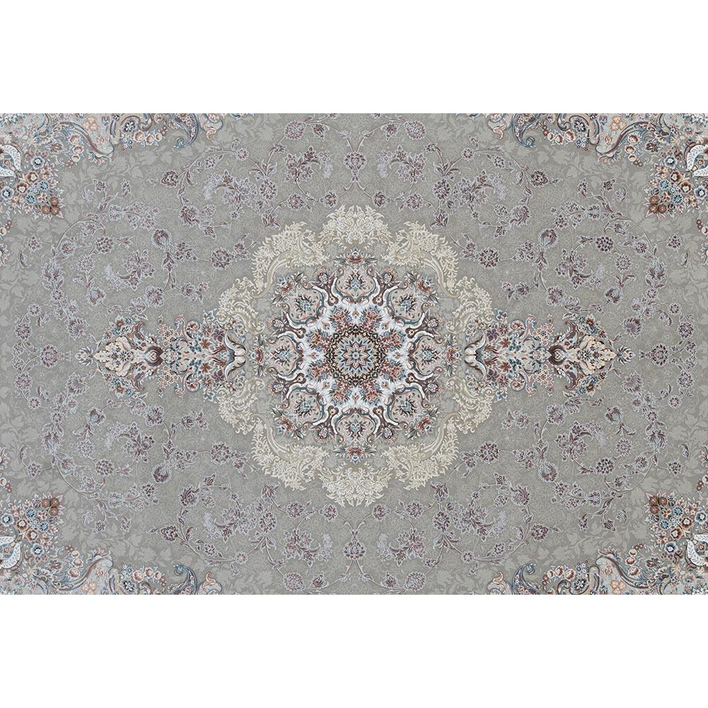 فرش ماشینی 1500 شانه کلکسیون فرشینه طرح فرشته زمینه فیلی گل برجسته