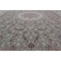 فرش ماشینی 1500 شانه کلکسیون فرشینه طرح نقش جهان زمینه فیلی گل برجسته