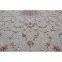 فرش ماشینی 1500 شانه کلکسیون فرشینه طرح نقش جهان زمینه نقره ای گل برجسته