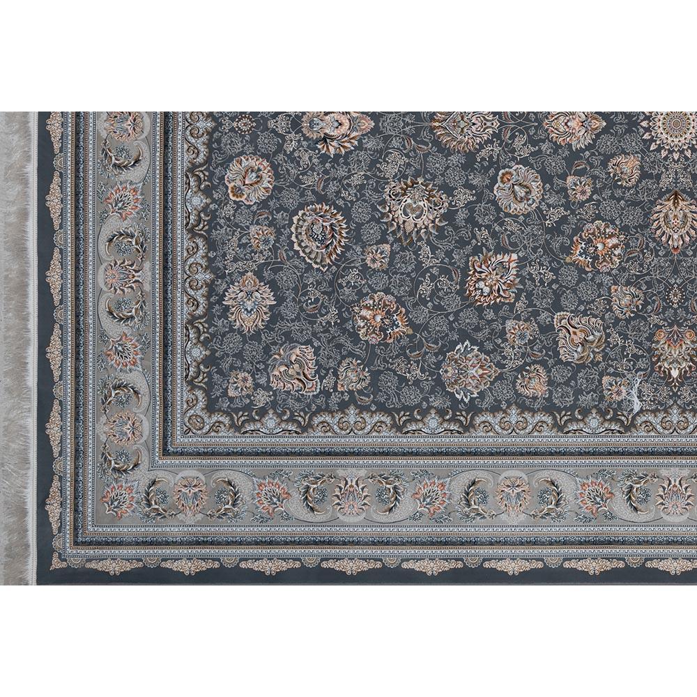 فرش ماشینی 1500 شانه کلکسیون فرشینه طرح کامیلا زمینه سورمه ای گل برجسته