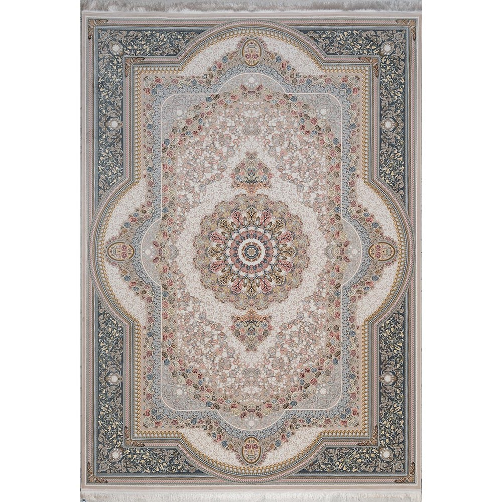 فرش ماشینی 1500 شانه کلکسیون فرشینه طرح گیشا زمینه بژ گل برجسته