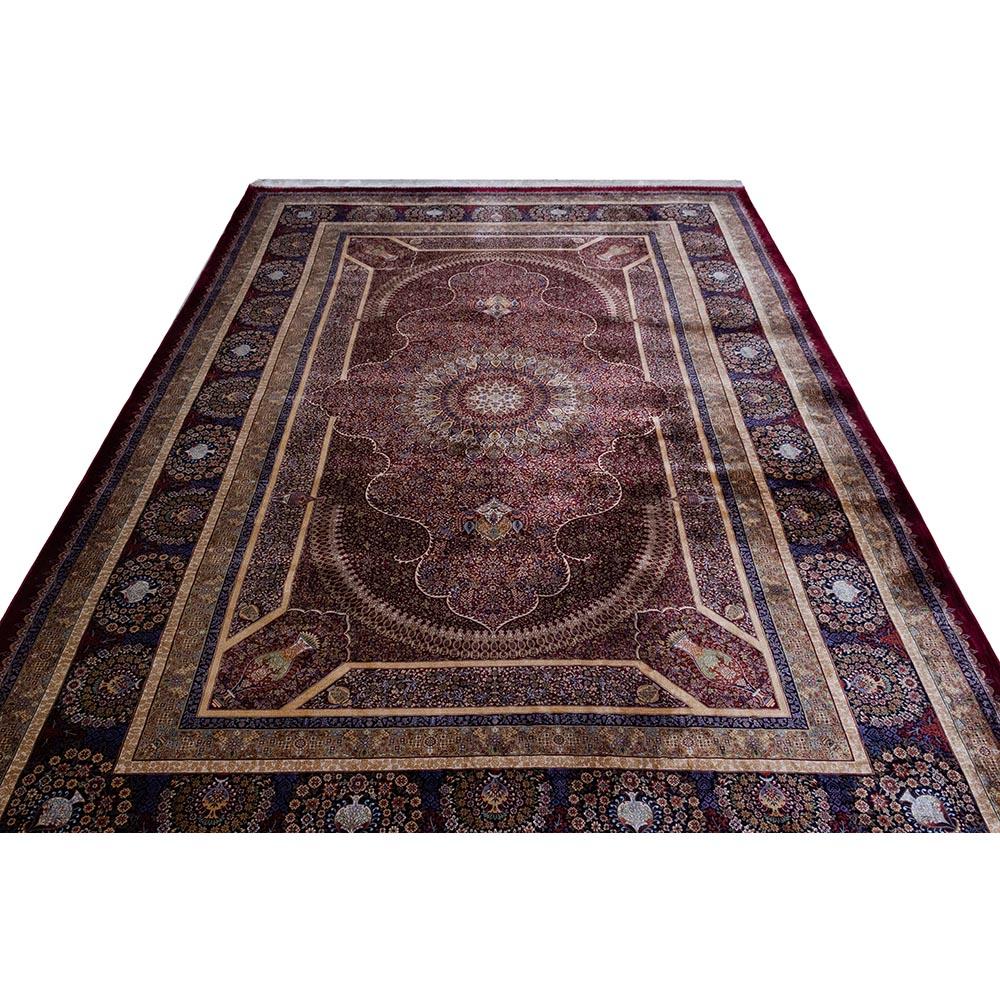 فرش ماشینی ابریشم بافت قیطران طرح زیرخاکی زمینه روناسی
