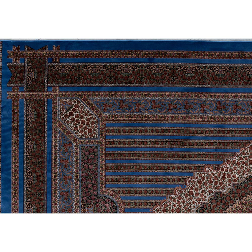 فرش ماشینی ابریشم بافت قیطران کلکسیون قم کد 263 زمینه آبی روشن