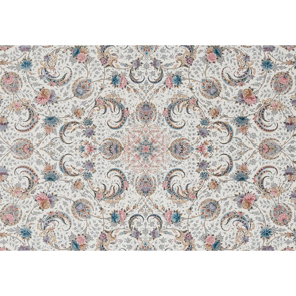 فرش ماشینی 1000 شانه ستاره کویر یزد کد 040 زمینه کرم گل برجسته