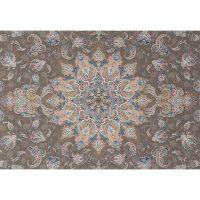 فرش ماشینی 1000 شانه ستاره کویر یزد کد 041 زمینه گردویی گل برجسته