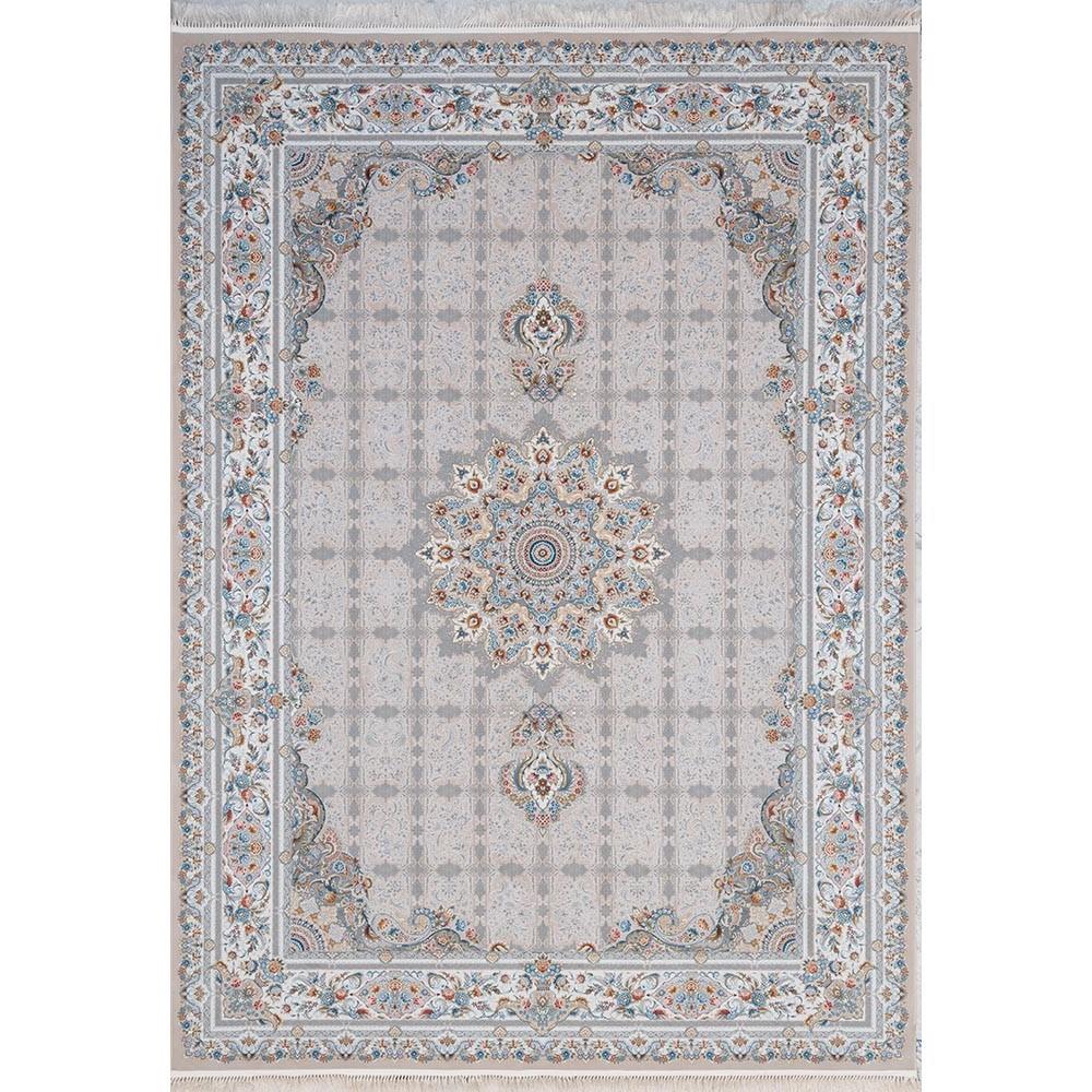 فرش ماشینی 1200 شانه کلکسیون اسطوره طرح دلربا زمینه بژ گل برجسته