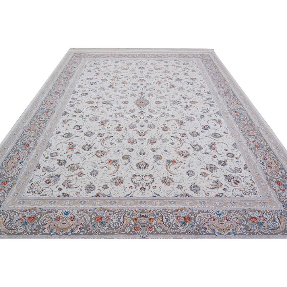 فرش ماشینی 1200 شانه کلکسیون اسطوره طرح سالار کد 8006 زمینه کرم گل برجسته