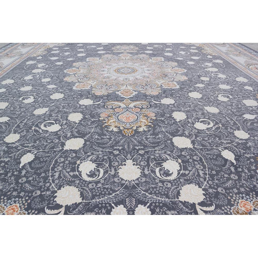 فرش ماشینی 1500 شانه کلکسیون فرشینه طرح نوین زمینه آبی گل برجسته