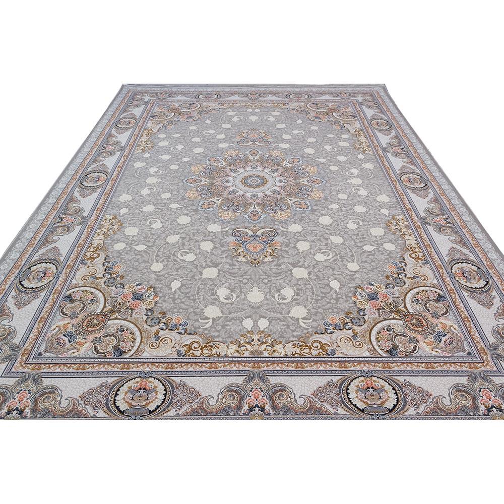 فرش ماشینی 1500 شانه کلکسیون فرشینه طرح نوین زمینه نقره ای گل برجسته
