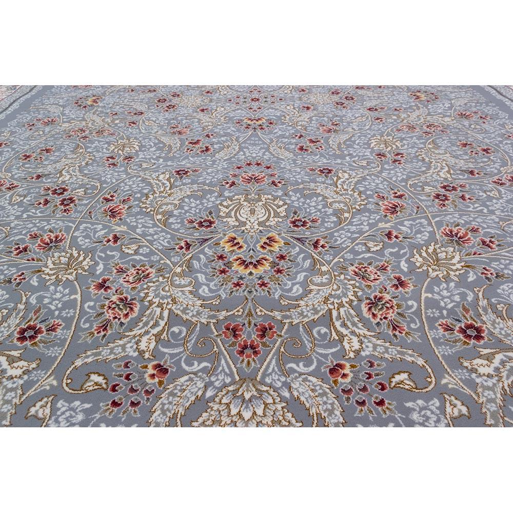 فرش ماشینی 700 شانه کلکسیون لاهور طرح گل رز زمینه نقره ای
