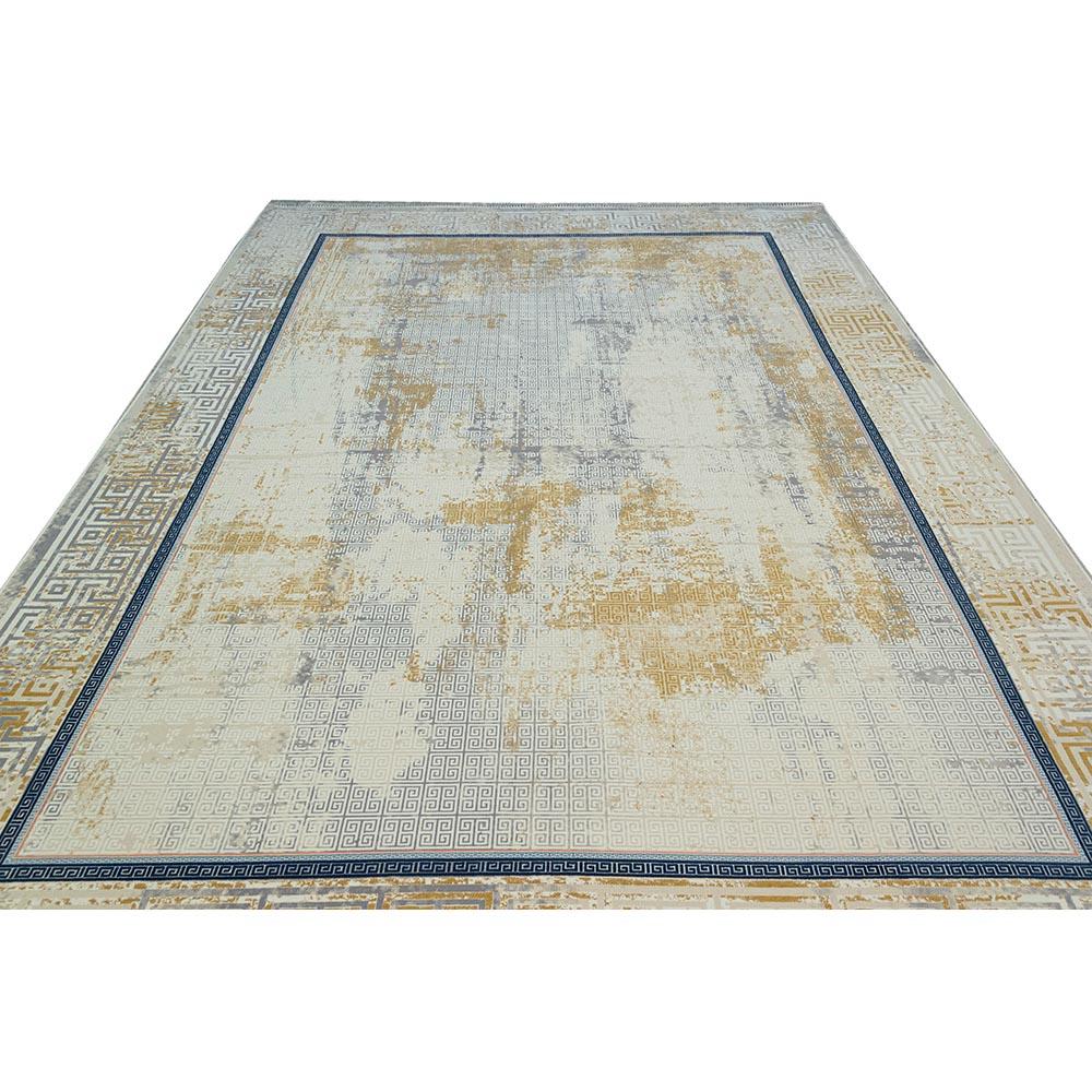 فرش ماشینی 1200 شانه وینتیج طرح ورساچه زمینه کرم طلایی گل برجسته