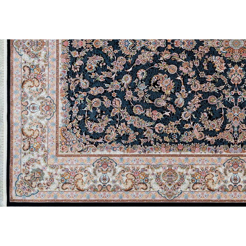 فرش ماشینی 1200 شانه کلکسیون فرشینه کد 12409 زمینه سورمه ای گل برجسته