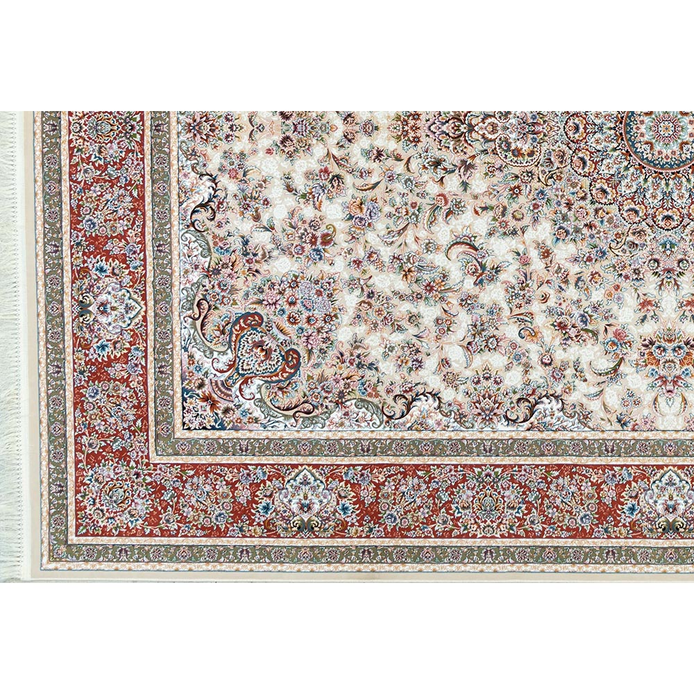 فرش ماشینی 1200 شانه کلکسیون فرشینه کد 12410 زمینه کرم گل برجسته