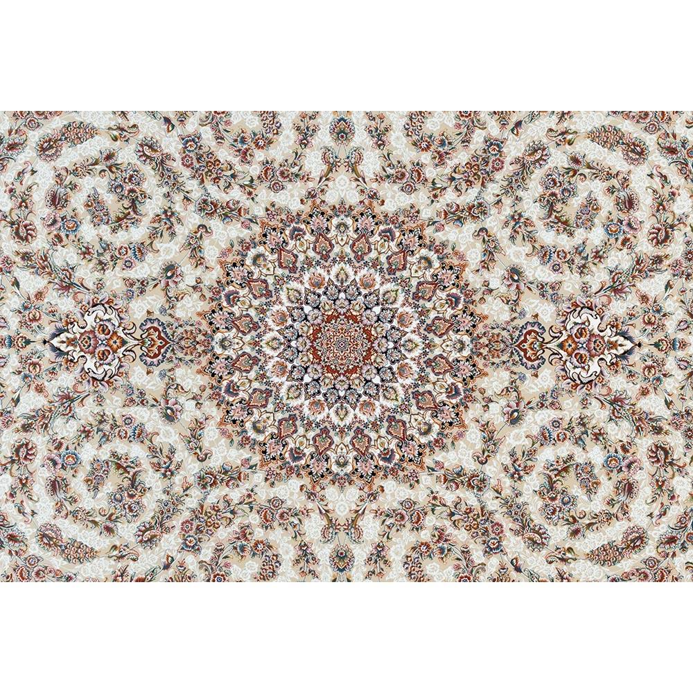فرش ماشینی 1200 شانه کلکسیون فرشینه کد 12412 زمینه کرم گل برجسته