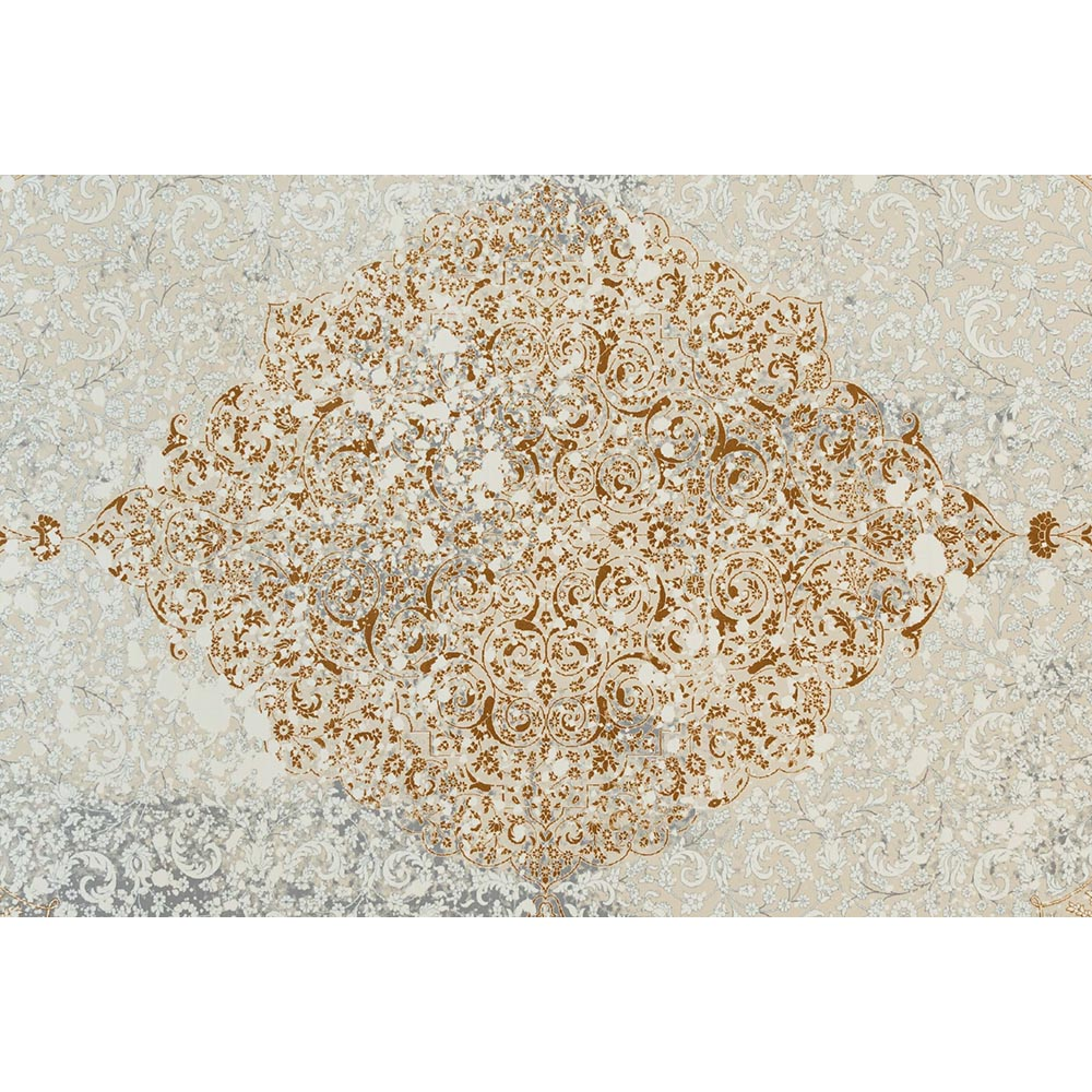 فرش ماشینی 1200 شانه کلکسیون ماهور طرح سروین زمینه کرم طلایی گل برجسته